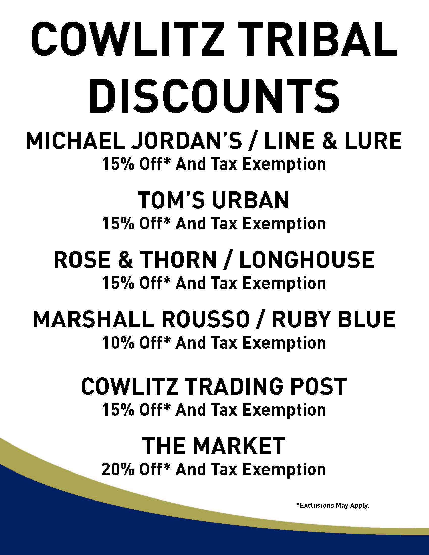 Cowlitz Tribal Discounts